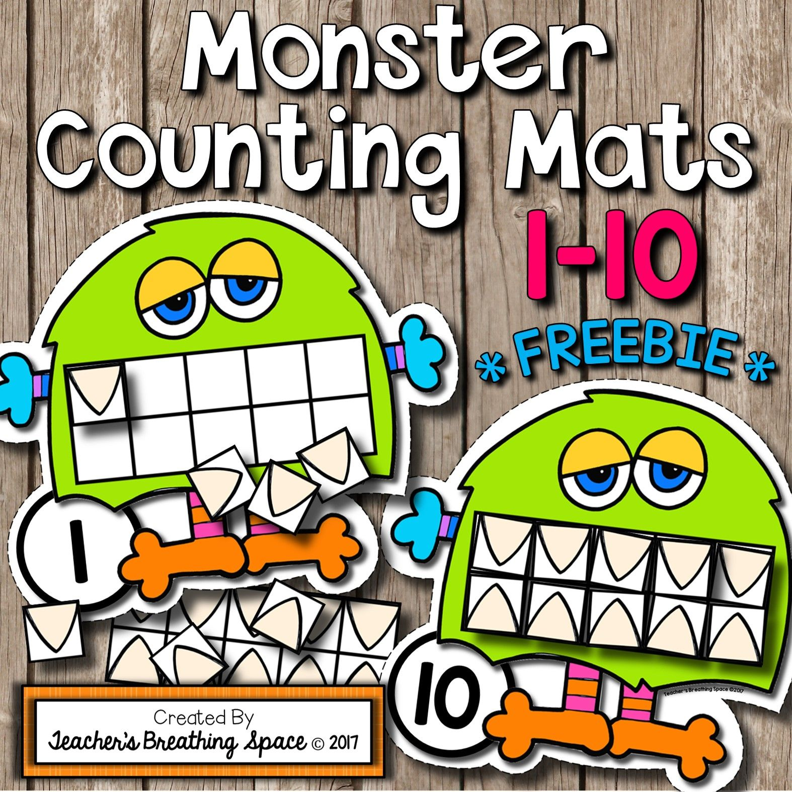 Monster Counting Mats 1 10 With Tens Frames Freebie