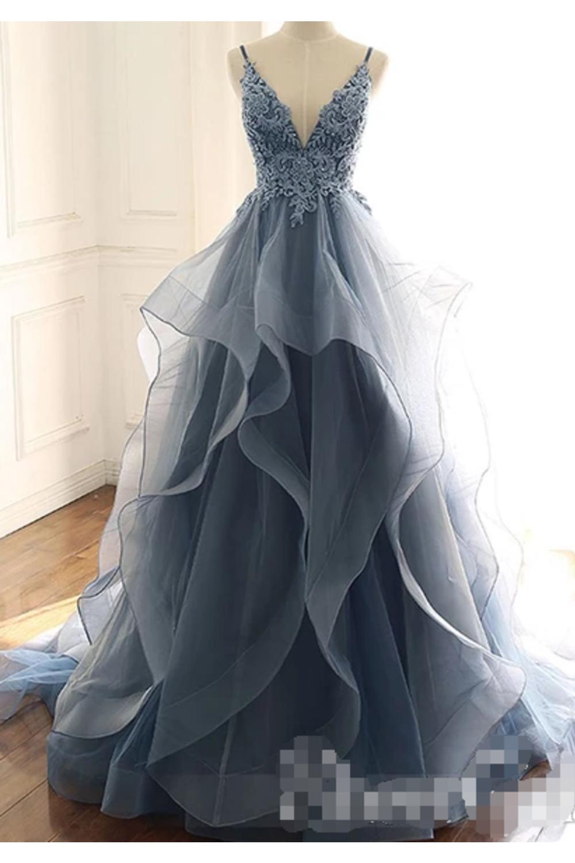 Deep V Neck Appliques Brautkleider Mehrschichtige Organza Prom Kleider