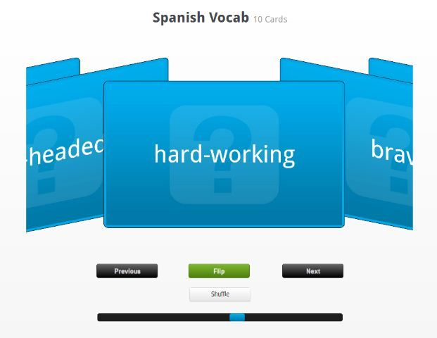 Spanish vocab flashcards - start creating your own Online Flashcards
