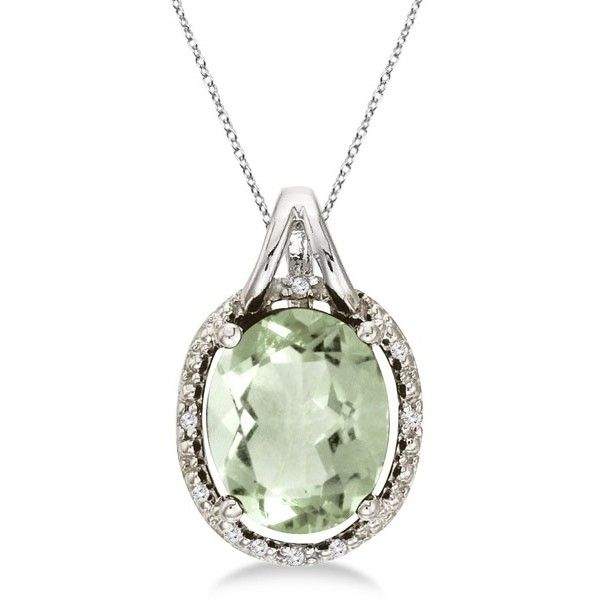 Allurez Oval Green Amethyst & Diamond Pendant Necklace 14k White Gold... (€365) ❤ liked on Polyvore featuring jewelry, necklaces, 14k necklace, chain necklaces, diamond chain necklace, white gold necklace and 14k diamond pendant