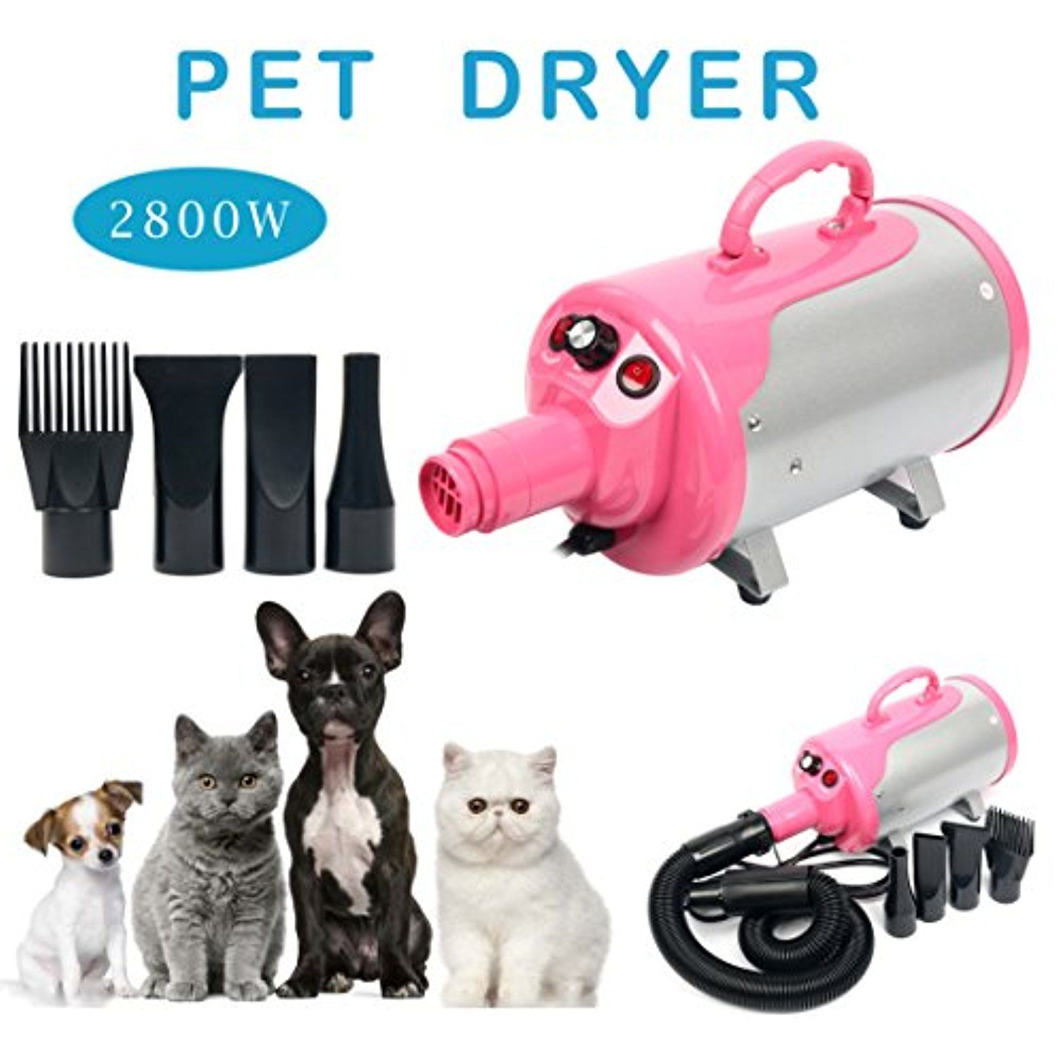 Portable Dog Cat Pet Grooming Dryer 2800w Salon Blow Hair Dryer Quick Draw Hairdryer with Different 4 Nozzles Pet Hairdryer Machine Set (Pink) ** More info could be found at the image url. (This is an affiliate link) #Dogs