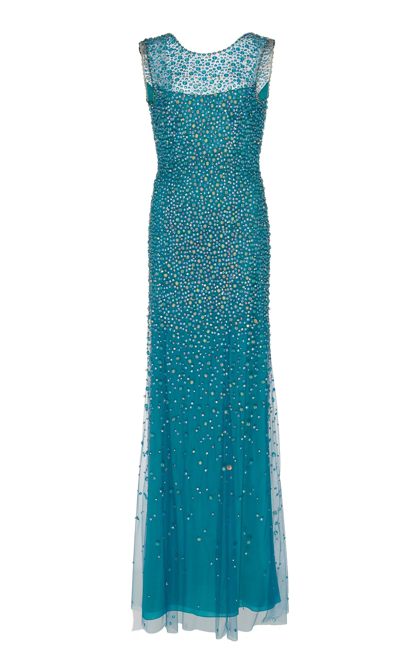 Assana Beaded Illusion Gown by JENNY PACKHAM for Preorder on Moda ...