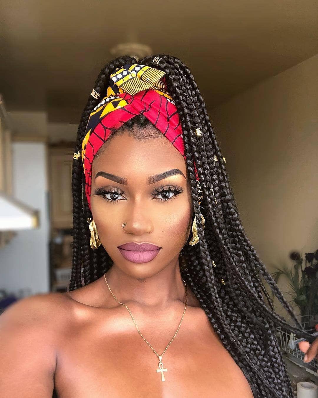 Africans Braids Designs On Instagram Yasss Braided Beauty Follow Africansbraid Longbraid Scarf Hairstyles Hair Styles Box Braids Hairstyles