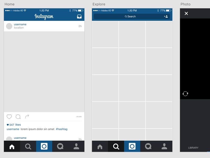 Instagram iOS Template freebie for Adobe XD - Design Mine