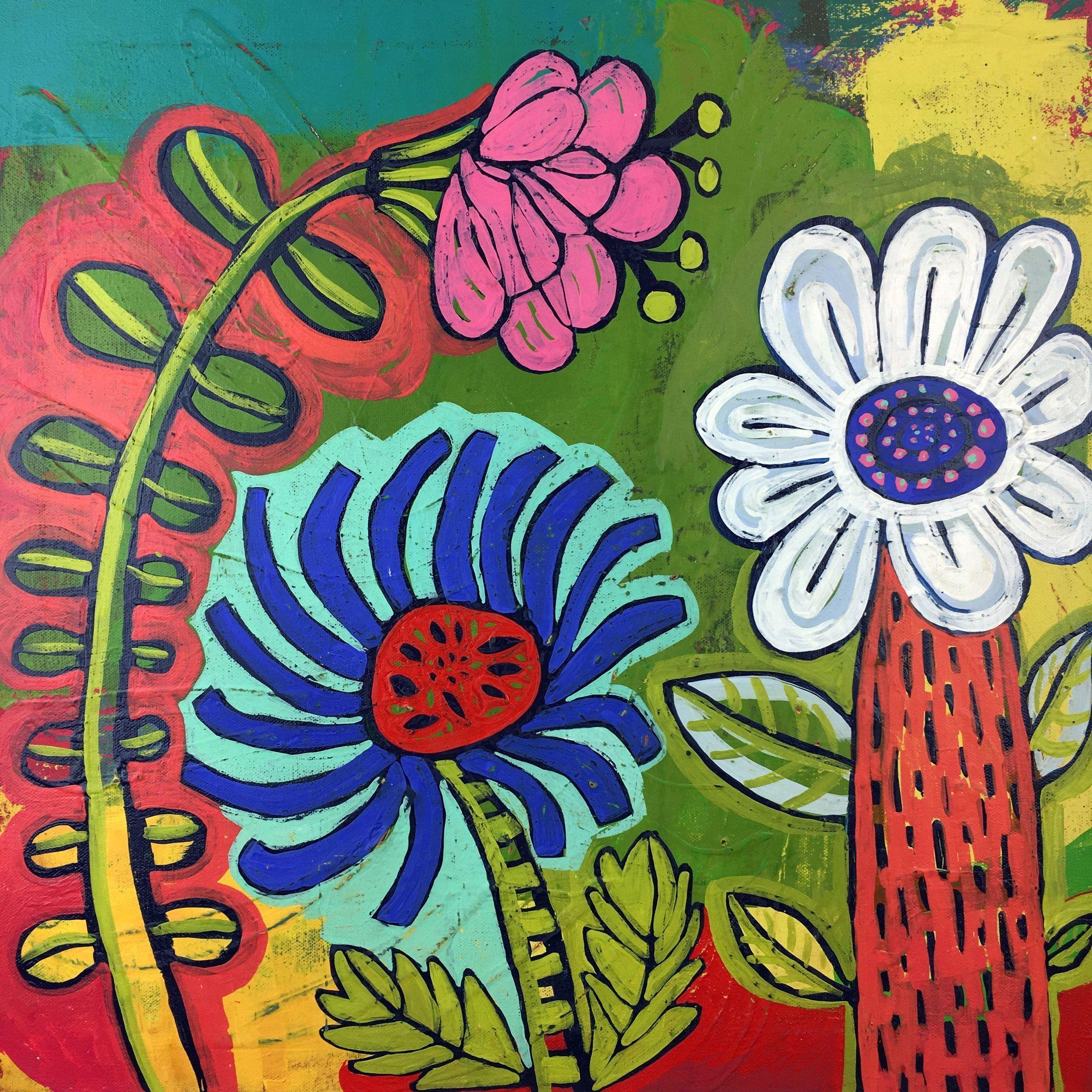 Garden Trio by Barbara Gilhooly (Acrylic Painting)   Artful Home#acrylic #artful #barbara #garden #gilhooly #home #painting #trio