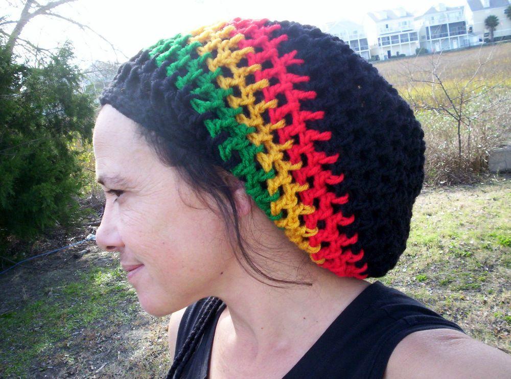 Handmade Crochet BLACK RASTA TAM Slouch Hat Dreads Reggae Men Wmn ...