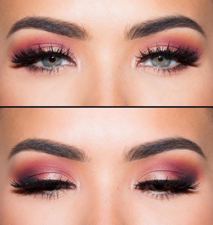 Madchenhaftes Abiball Make Up Mit Lidschatten In Korallfarbe Makeup Fur Blaue Augen Make Up Augen Rosa Lidschatten