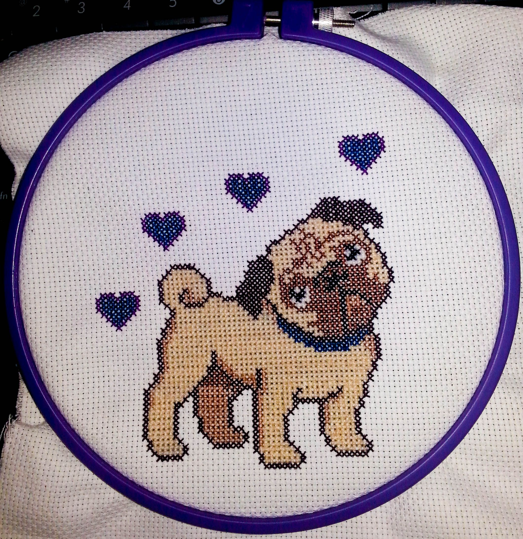 Pug Cross Stitch I made for Corwin Prescott and Nicole Vaunt. If you follow their work you've probably see photos of their adorable pug Franco :)