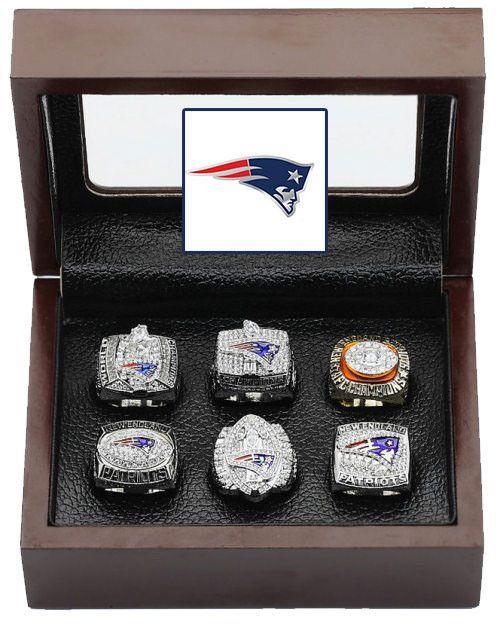 61aec47105e New England Patriots Super Bowl Replica Ring Set (6) Years 85 01 03 04 07 11