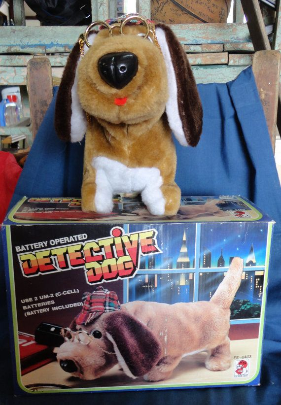 Vintage Detective Dog Battery Operated Toy By Tennesseehills