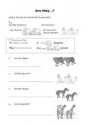 English worksheet: Are they...? Yes, they are/ No, they aren´t ...