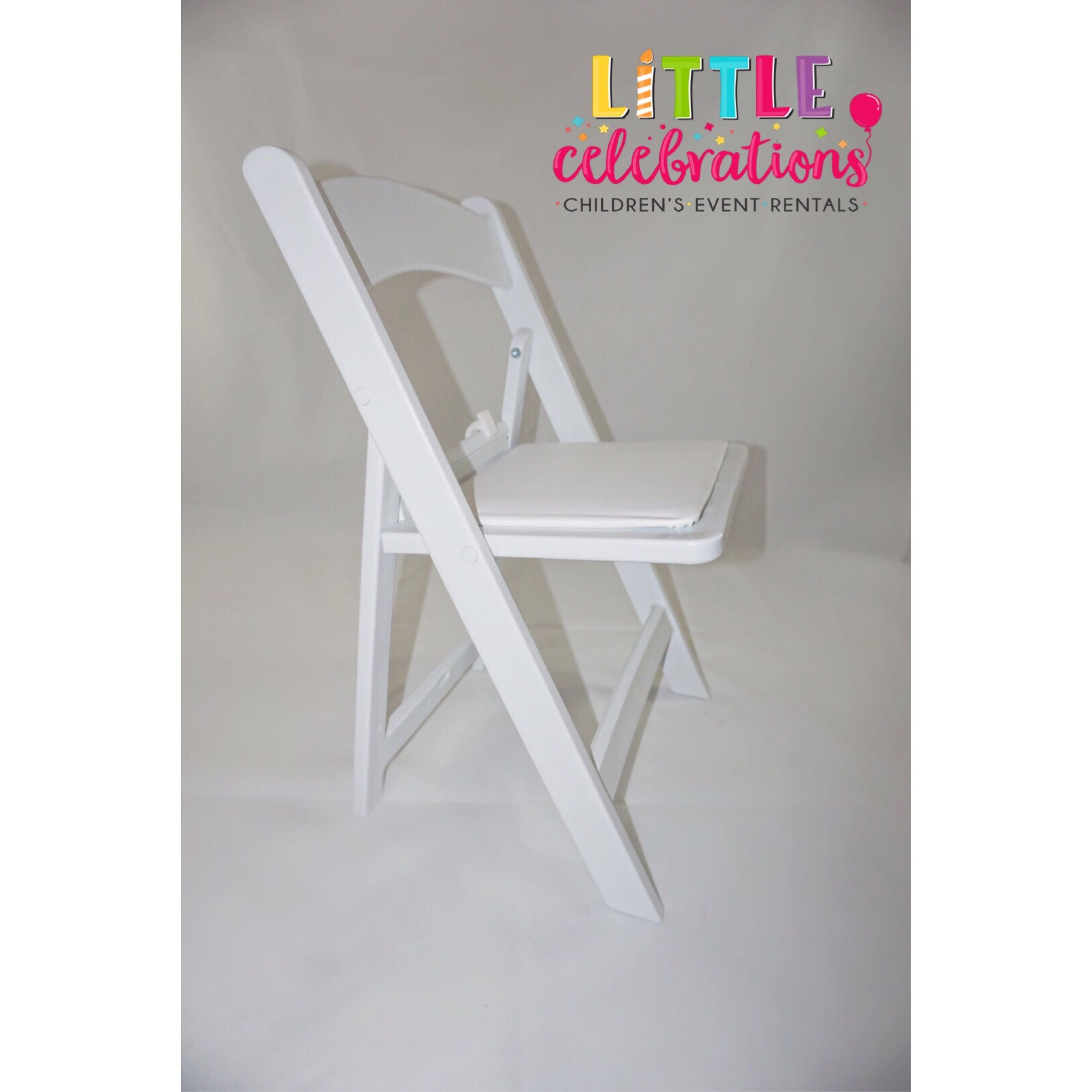 Children size white foldable chairs