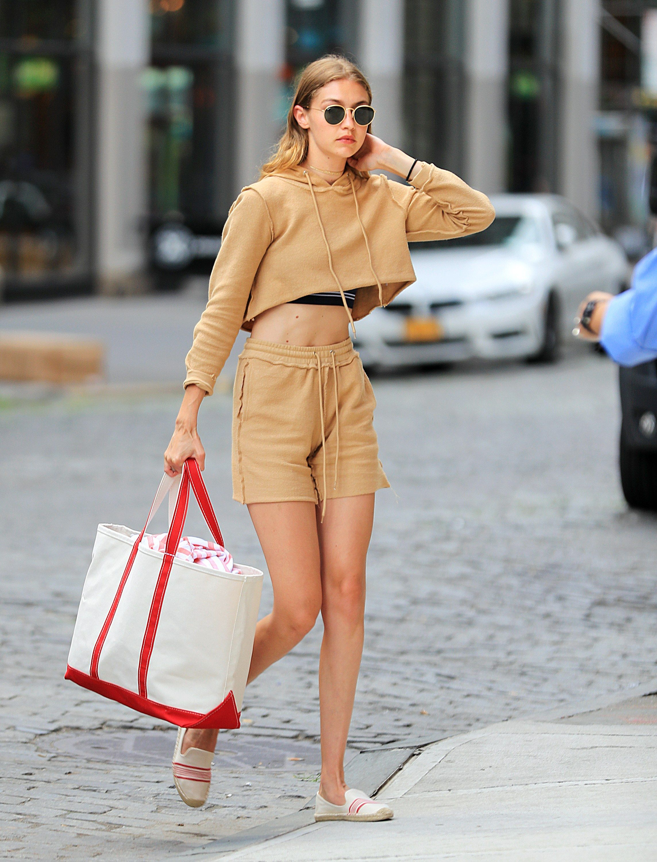 a75e153d6a25 Gigi Hadid Wears a Sweatsuit Crop Top and Shorts in New York City