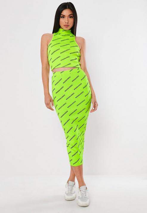 e37427d51d8d4f Missguided Neon Green Co Ord Graphic Rib Midi Skirt in 2019 ...