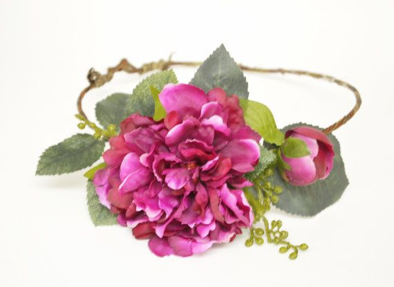Fushia Flower Crown Peony Floral by blueorchidcreations on Etsy