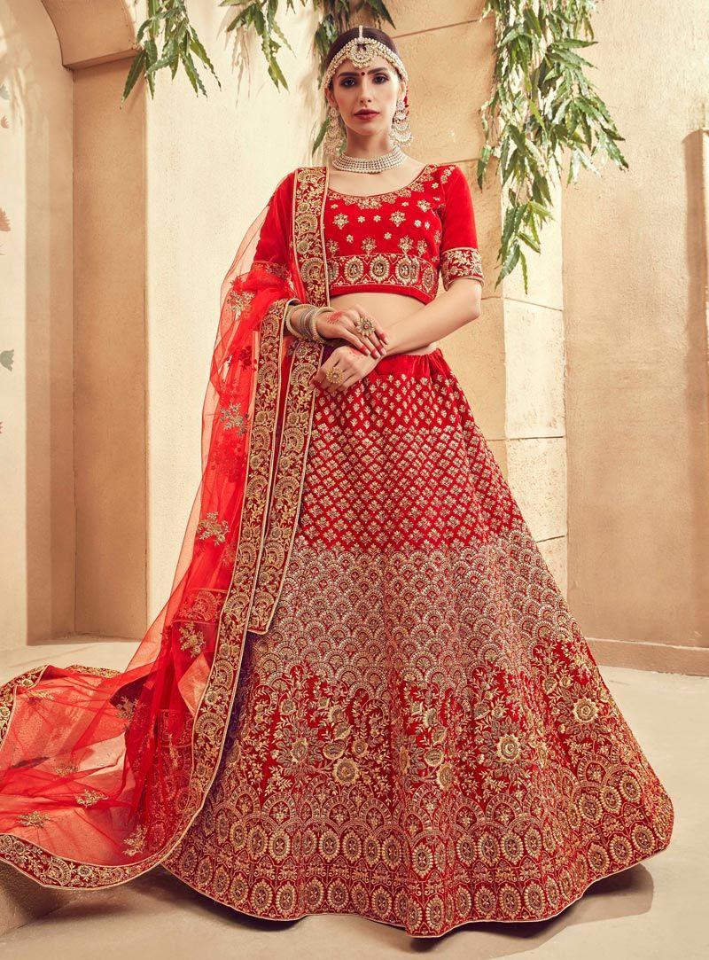 5badb9700d Buy Red Velvet A Line Lehenga Choli 146026 online at best price from vast  collection of Lehenga Choli and Chaniya Choli at Indianclothstore.com.
