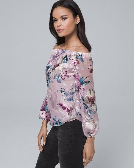 09da7d822b8cd Women s Silk-Blend Floral Burnout Off-the-Shoulder Blouse by White House  Black Market