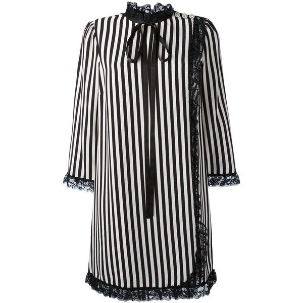 Marc Jacobs Parchement dress (€625) ❤ liked on Polyvore featuring dresses, black, striped shift dress, strap dress, marc jacobs, strappy dress and shift dresses