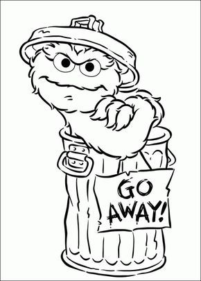 Coloring Page Of Oscar And Go Away Sign Sesame Street