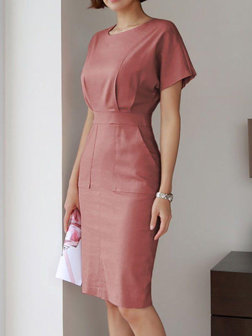 98b17b106435 Stylewe Plus Size Midi Dress Sheath Dress Short Sleeve Work Slit Solid Dress