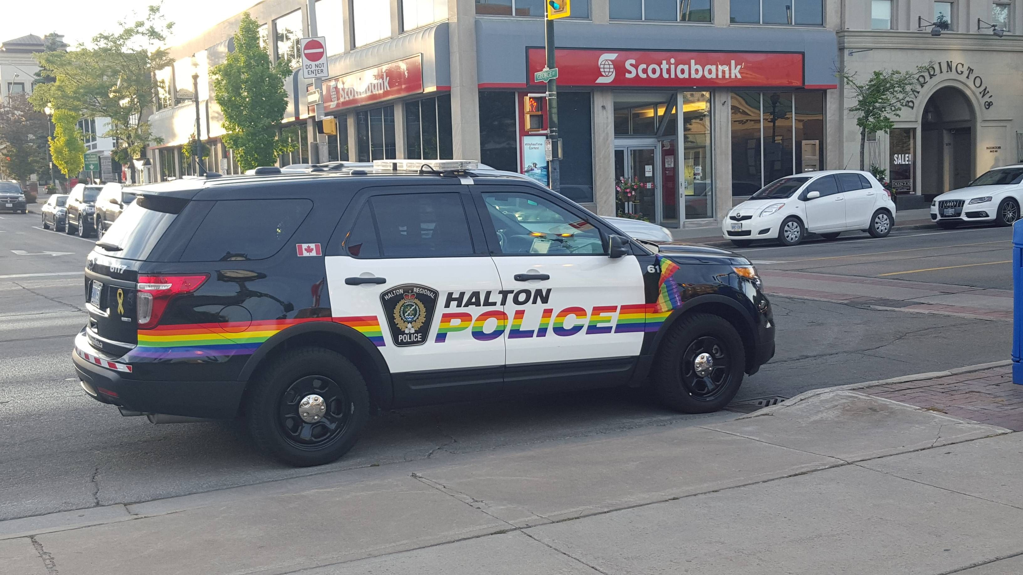 police car in oakville on at a candle light vigil for orlando