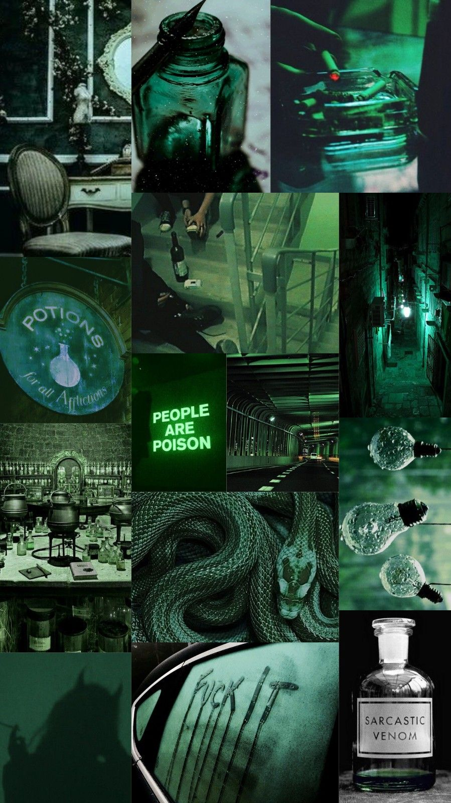 Wallpaper Background Collage Aesthetic Music Color Green Dark Green Slytherin Poi