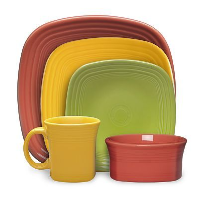 Fiesta Square Dinnerware Collection in paprika marigold and lemongrass square dinner plates  sc 1 st  Pinterest : fiesta square dinnerware sets - pezcame.com