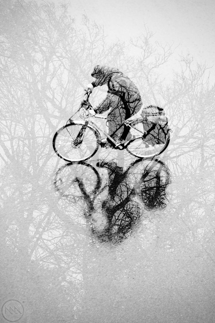 Intertwined in a Double Exposure Forest. Created by Michel Assaad.