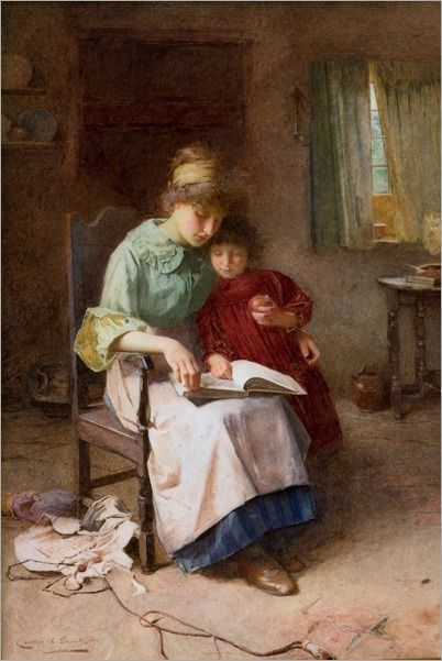 Mãe e filha lendo um livro, 1897 Carlton Alfred Smith (Inglaterra ...