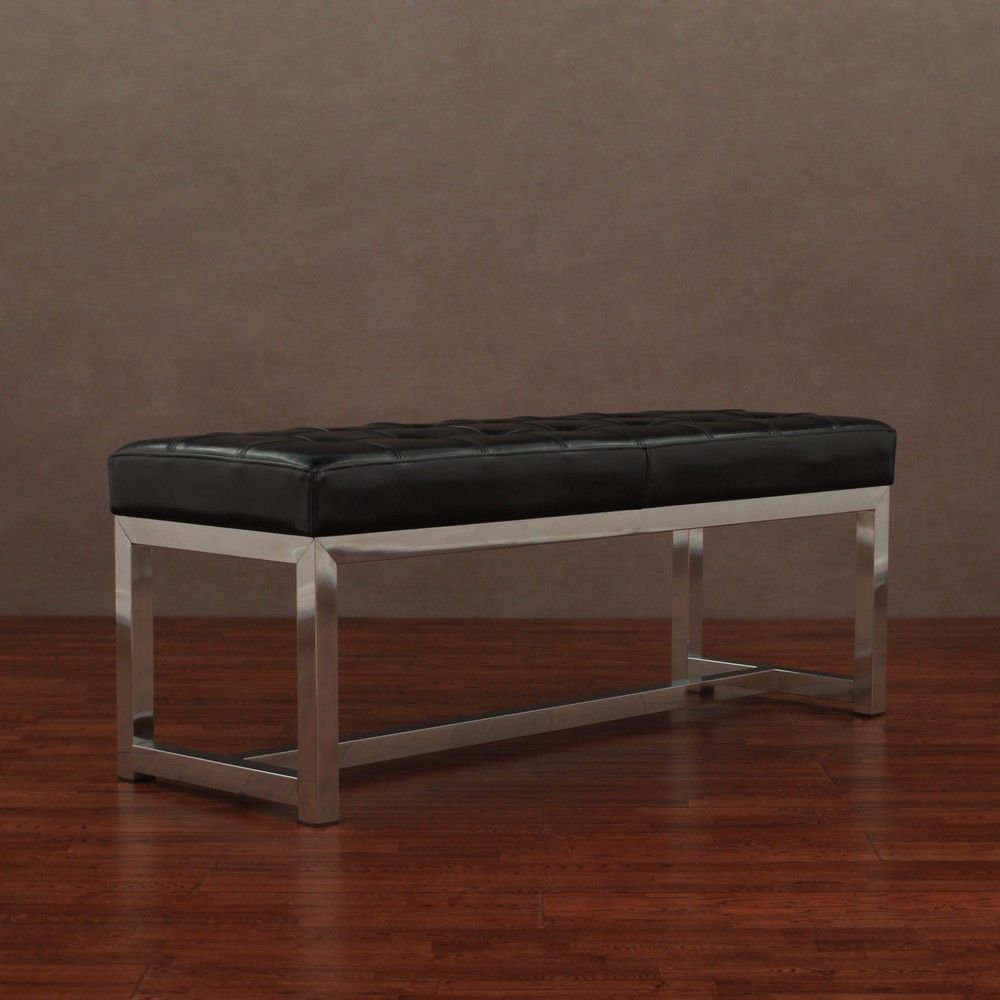 Liberty Black Leather Bench Overstock Com Shopping