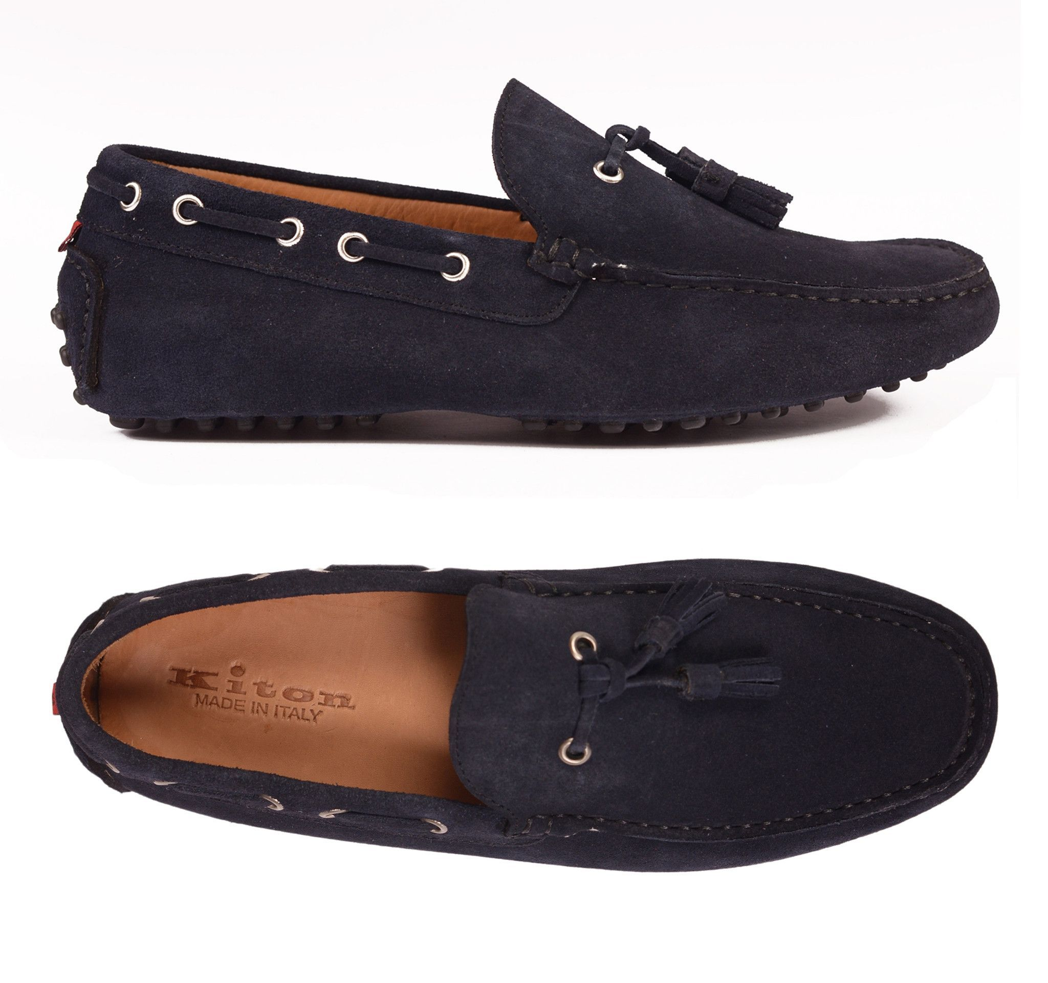 KITON NAPOLI Navy Blue Suede Tassel Loafers Driving Car Shoes Moccasins NEW
