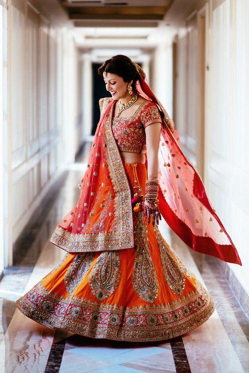 Pretty Indian Bride In Lehenga | Indian Bridal Makeup And Jewellery | Traditional Orange Lehenga ...