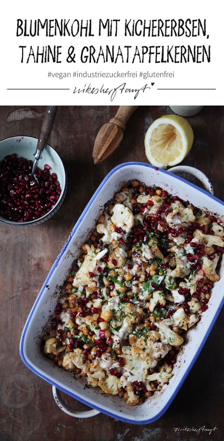 Photo of cauliflower with cherry peas, tahini and pomegranate seeds.