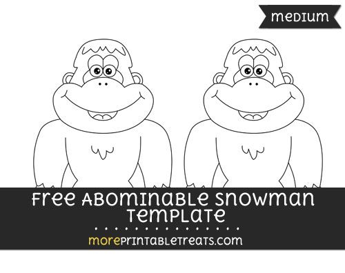 Free Abominable Snowman Template - Medium Shapes and Templates - snowman template