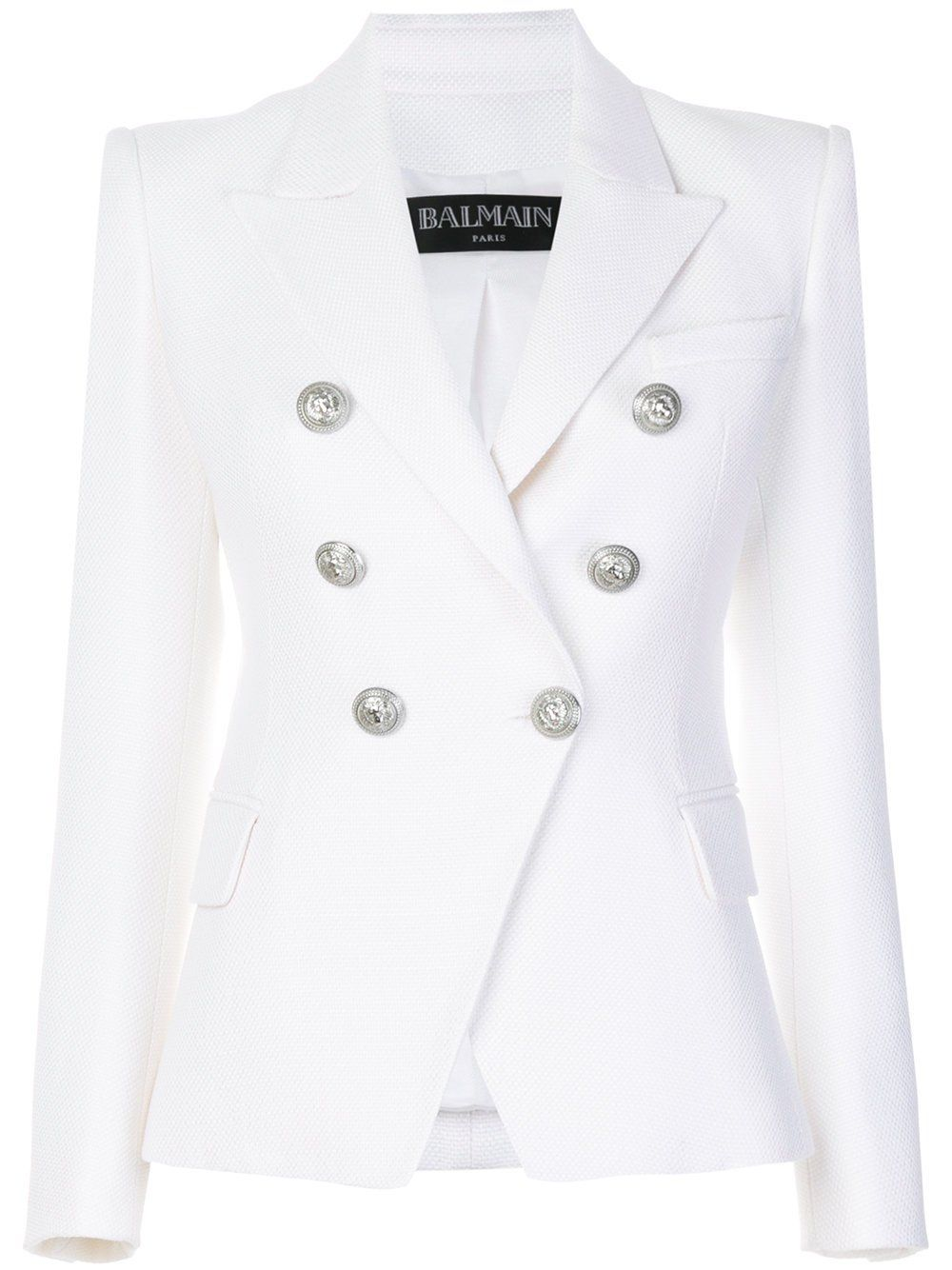 41c0ca2f Balmain White Double Breasted Blazer   bout business in 2019   Long ...