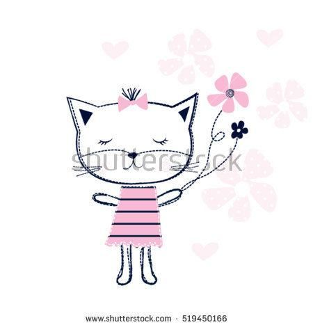 cute cat with flowers, T-shirt graphics for kids vector illustration