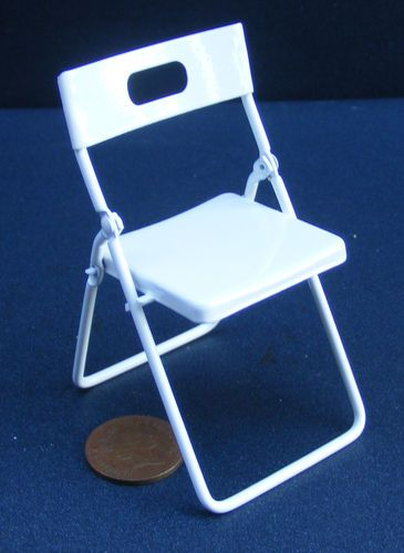 1 12 Scale White Painted Metal Folding Chair Dolls House Miniature Furniture 230 Ebay Metal Folding Chairs Miniature Furniture Dollhouse Miniatures
