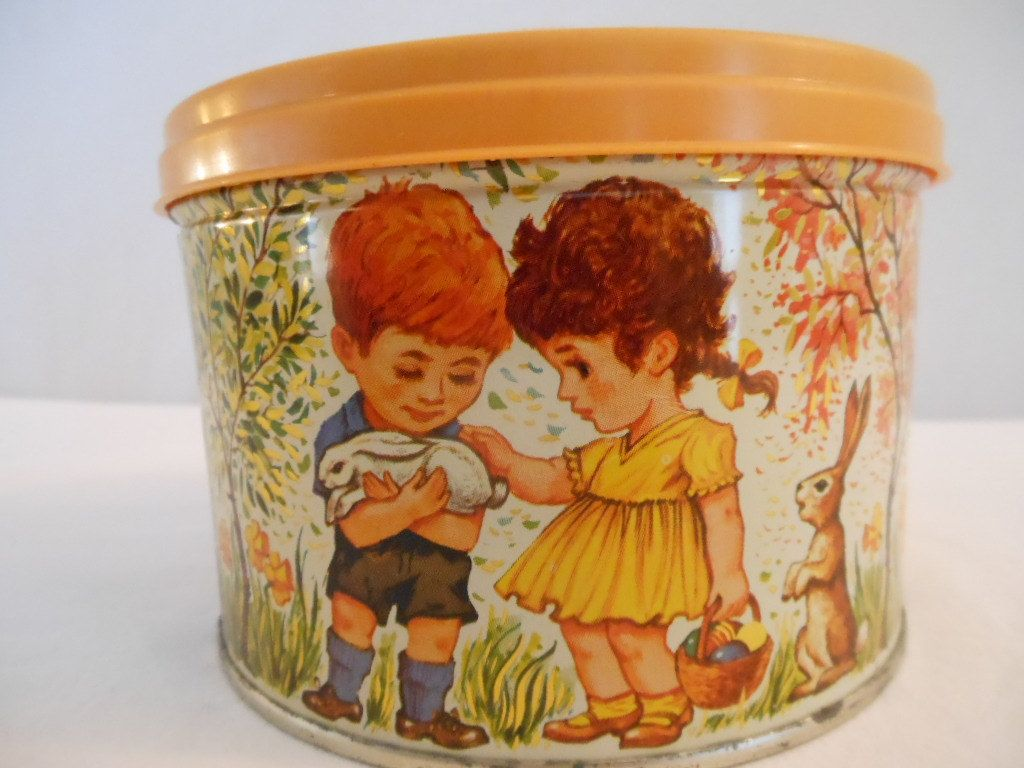 Vintage Easter Candy Tin/ Easter Decoration/ Storage Container. $14.00, via Etsy.