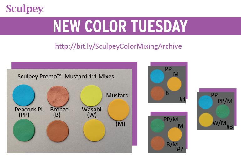 New Color Tuesday Introducing Sculpey Premo Mustard Pt 3 Color Mixing Sculpey New Color
