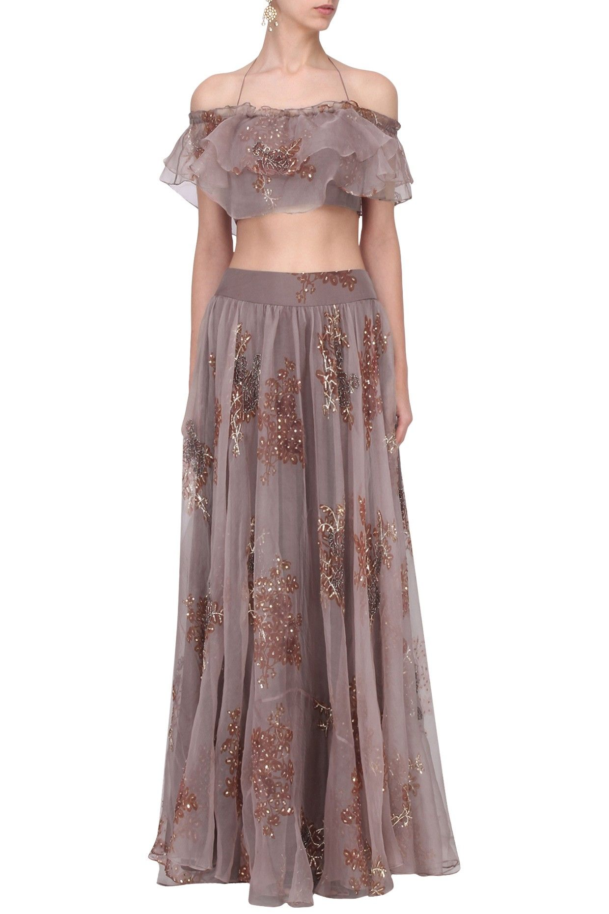 4374727b91 PLEATS BY KAKSHA & DIMPLE Purple Printed Off Shoulder Crop Top and Skirt Set.  Shop now! #pleats #embroidery #purple #offshoulder #indianfashion ...