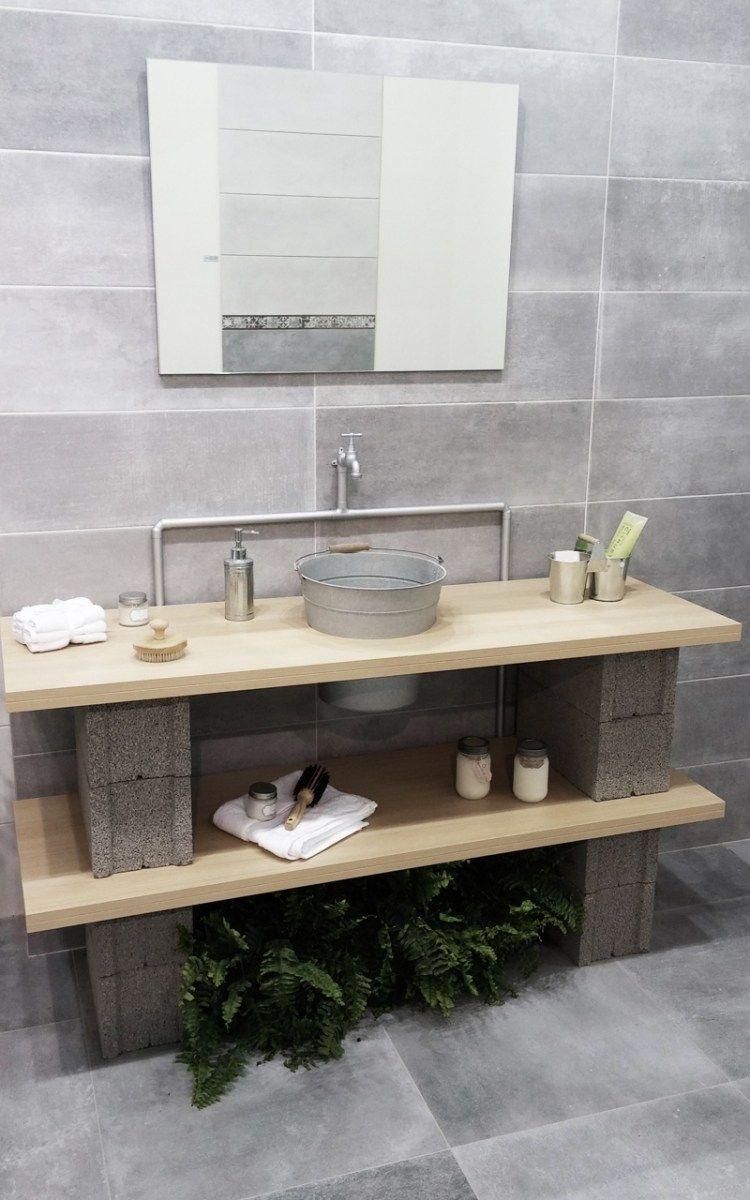 Bloques de cemento ideas para decorar tu hogar en snap a for Pared de bano de concreto encerado