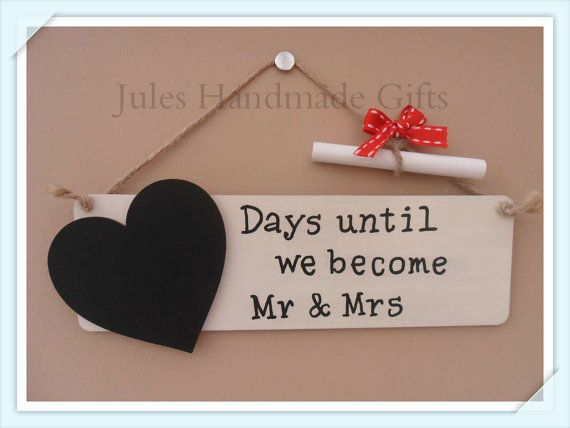 Wedding Countdown Chalkboard Plaque Days Until We Become Mr Mrs Sign On Etsy