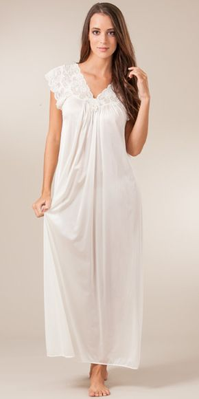 Shadowline Silhouette Flutter Sleeves Long Night Gown in Ivory in ... 5da47ed1e