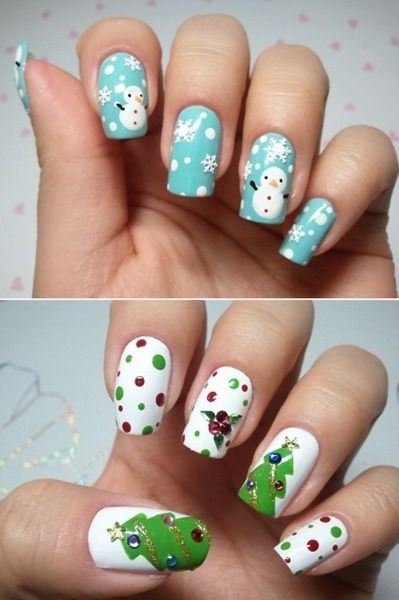 ilovestalkingtrees:  Yay Christmas nails! I'm excited for December!  SNOWMAN NAILS! will def do ...