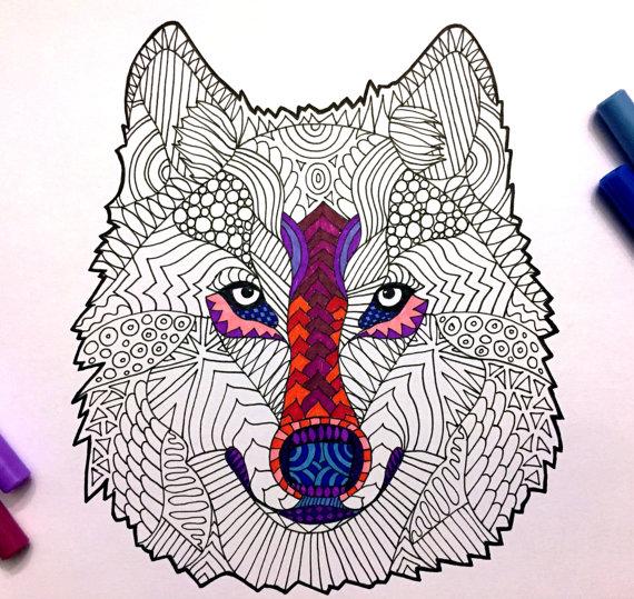 Wolf Head - PDF Zentangle Coloring Page (с изображениями ...