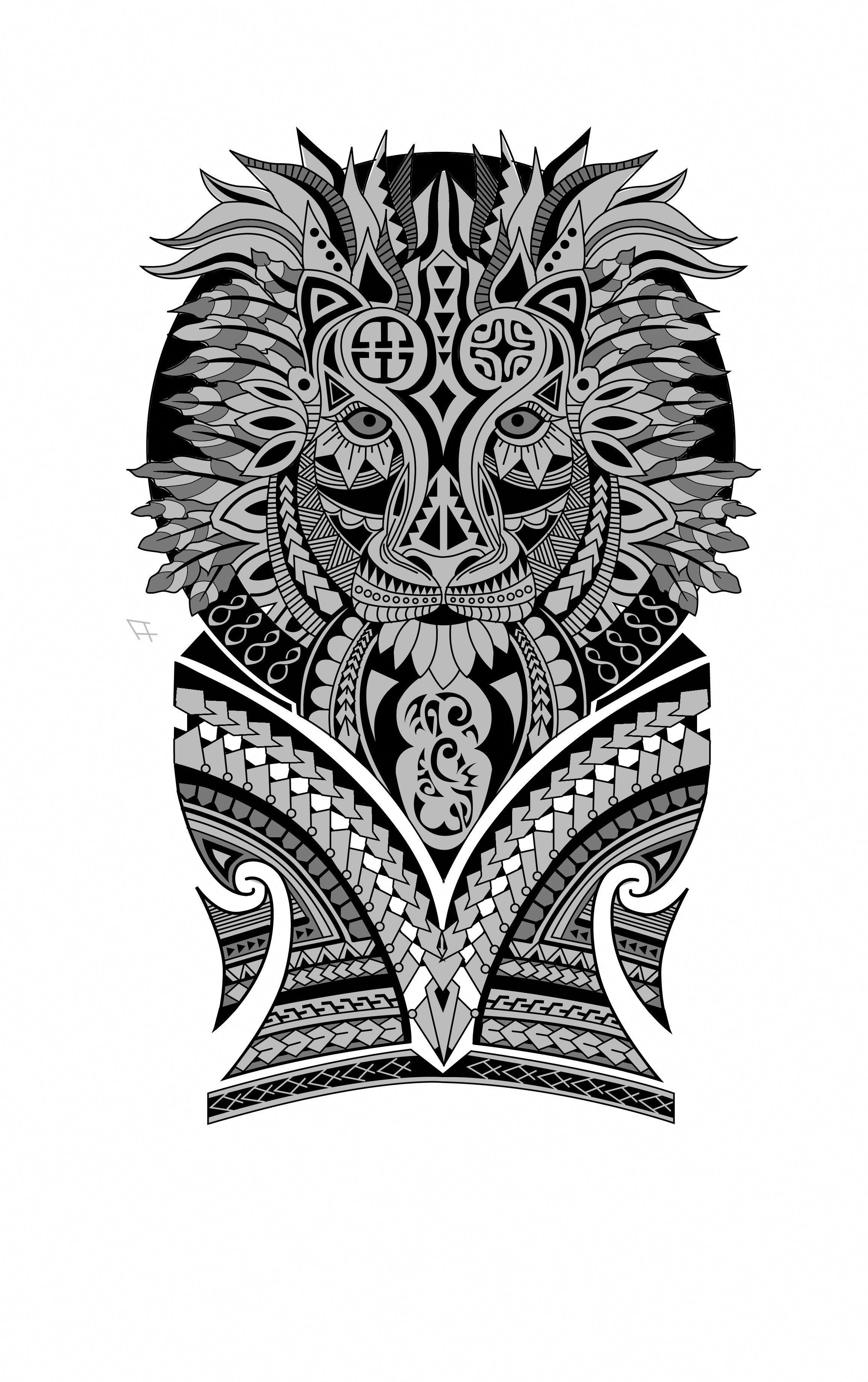 Polynesian Lion Half Sleeve Tattoo Design. Designer