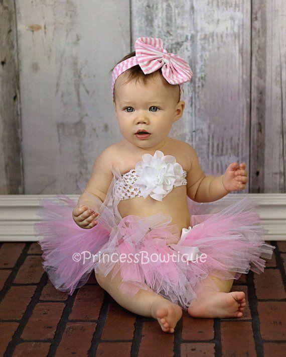 da92c606fd5 Pink and White Baby Tutu Set
