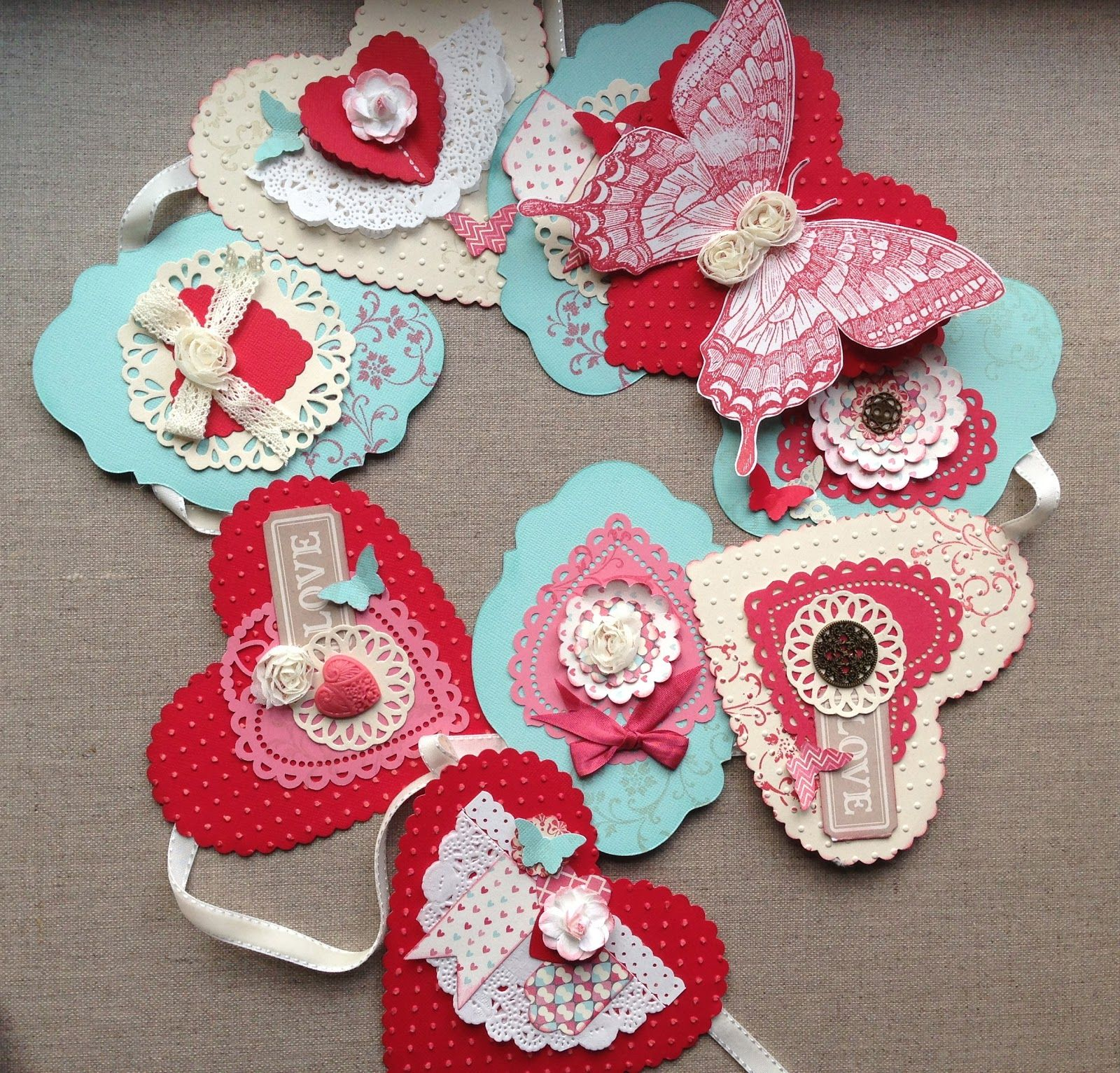 use bits  pieces of paper lace  ribbon to make these old