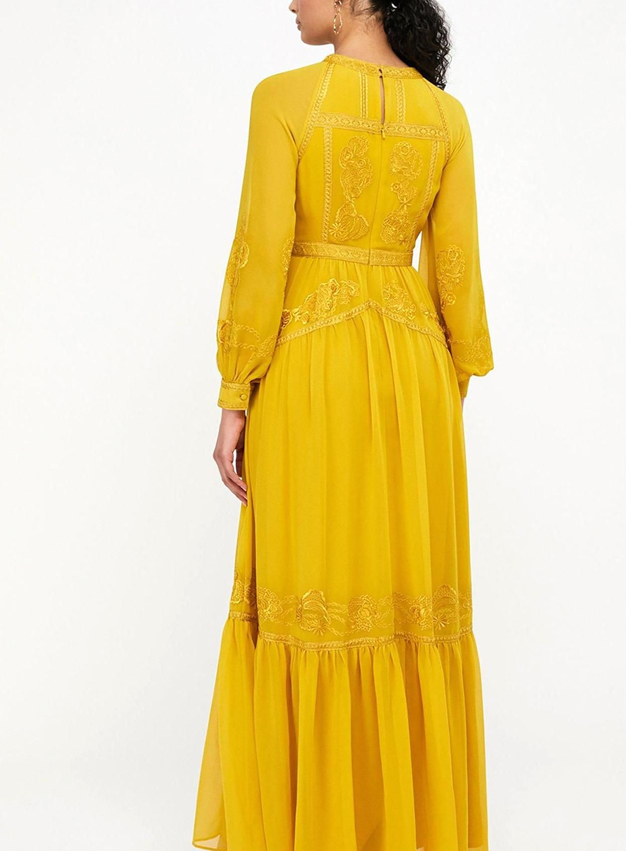 Monsoon Florence Embroidered Long Sleeve Dress Yellow Yellow Size 8 Women Yellow 8 Embroidered Maxi Dress Long Sleeve Embroidered Dress Maxi Gowns [ 1706 x 1256 Pixel ]