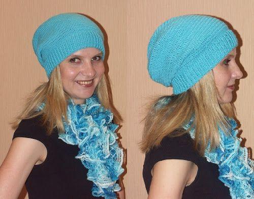 шапка чулок крючком столбиками с накидом схема вязания Knitting